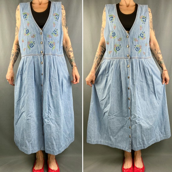 Vintage 90s overall dress,long denim embroidered p