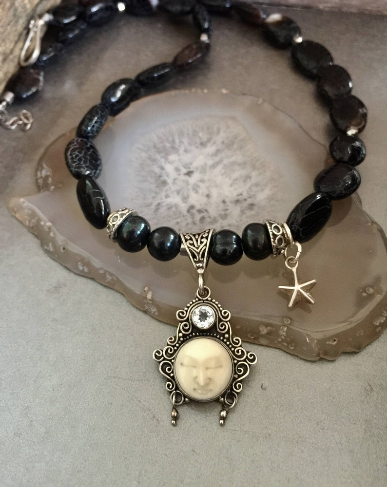 Celestial Jewelry Carved Bone Moon Face Necklace Black 925 Etsy