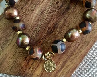 Freshwater pearl beaded Bracelet-St Benedict bracelet-Oracion Padre Nuestro Medal bracelet-The Lord's Prayer bracelet-Catholic Gift-Medal