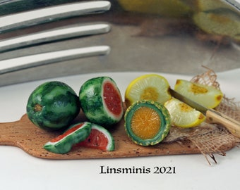 12th Scale Handmade Dollhouse Miniature *Slicing Mixed Melons*