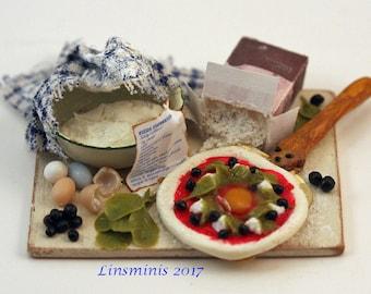 "12th scale handmade miniature ""making pizza Fiorentina""."