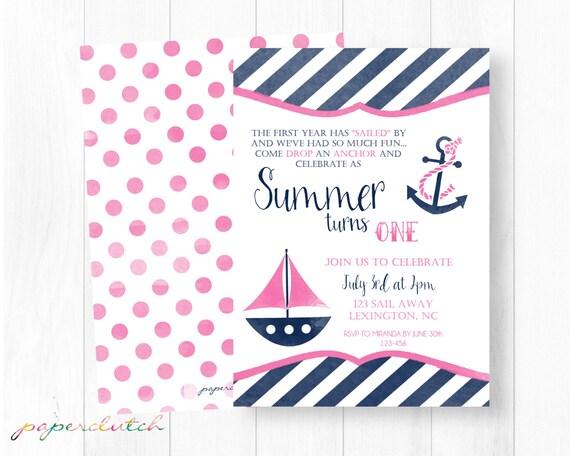 girl nautical first birthday invitation pink sailboat etsy