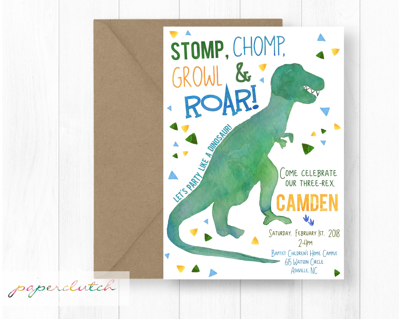 T Rex Birthday Invitation Dinosaur