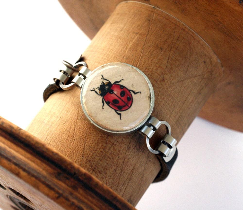 Cork Jewelry: Ladybug Bracelet Ladybug Jewelry Wine Cork Jewelry