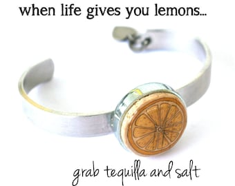 Cork Bangle Bracelet   When Life Gives You Lemons   Adjustable, Custom Hand Stamped Initial, Stackable, Recycled Wine Cork   Uncorked
