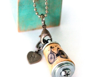 Bike Necklace Bicycle Jewelry, Wearable Art Jewelry, Bicycle Necklace, Art to Wear, Cork Art Necklace, Vintage Bicycle Jewelry, Recycled Art
