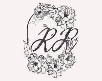 Digital Custom Monogram in English Typography with Floral - Monogram Art