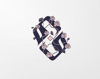 Digital Custom Monogram in Arabic Calligraphy with Floral & Leaves - Monogram Art