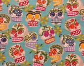 MINI CALAVERAS Fabric Fat Quarter Day of the Dead Turquoise Sugar Skull Alexander Henry 2005 Cotton Sewing Quilting Mexican Folk