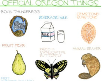 Official Oregon Things postcard