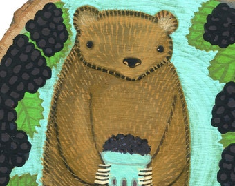 Berry Bear original painting on wood