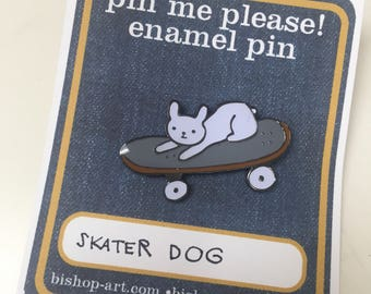 Brix the skating French bulldog enamel pin