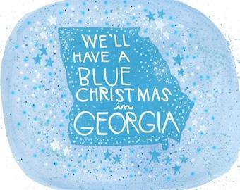 Blue Christmas in Georgia Christmas card