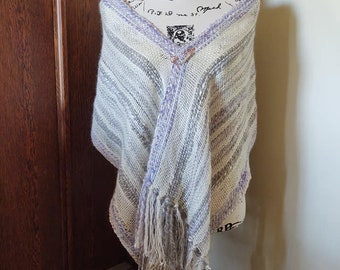 Handwoven Luxurious Pygora Shawl Wrap Lavender Grey