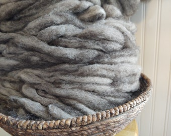 Wen-Mar Farm Bluefaced Leicester BFL roving - natural variegated greys and browns 1oz