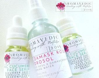 Organic Skincare kit Face Serum Rose Neroli Frankincense Sandalwood and Rose Hydrosol