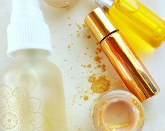 Golden Sun Illuminating Summer Skincare Kit Mini 4 Products