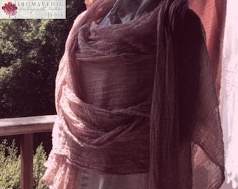 Vegan Fashion Organic Cotton Plant Dyed Shawl Long Scarf Red Sandalwood 20x120 inches Raw Edges
