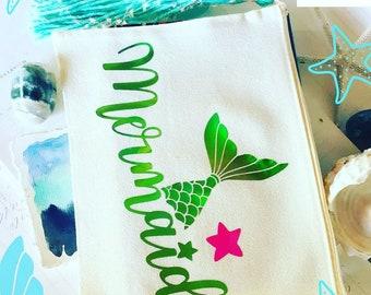 Mermaid Summer Pouch Cotton Canvas Eco Fashion Organic Cotton Tassel