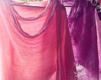 Organic Cotton Plant Dyed Shawl Hibiscus Rose 1x5 Feet Raw Edges