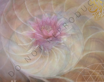 """Sacred Geometry Lotus Shell Art Print on Archival Quality Watercolor Paper 8""""x8"""""""