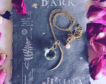 Moon Necklace with Green Amethyst Dark Luna