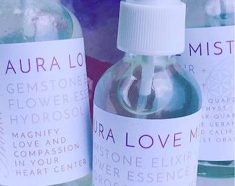 Heart Chakra Aromatherapy Gemstone Mist Aura Love with Rose Geranium Rose Otto  Gemstone Infusion and Flower Essences