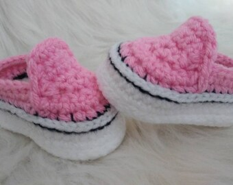 Crocheted baby vans style shoes, crochet baby shoes, crib shoes, baby girl shoes, baby girl gender reveal, knit baby shoes, baby vans shoes