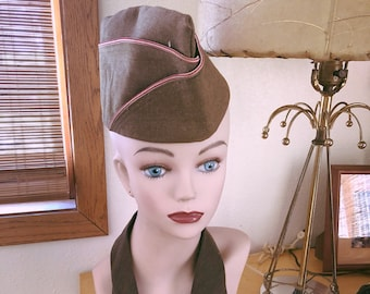 Vintage 1950s Hat and Tie Military Dress Army Green Old Hollywood 50s  Rockabilly Swing 1940s 40s d034ef49ca16
