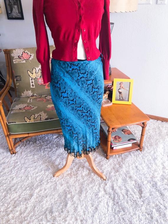 1940s style Skirt  / 40s style snake print skirt /