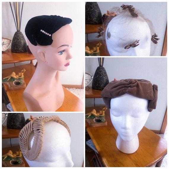 1950s Hat Lot  / 50s Fascinators / 50s net hat / 5