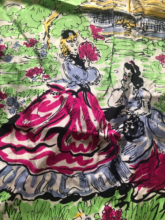 1940s Silk Scarf / 40s novelty Figural print scarf - image 3