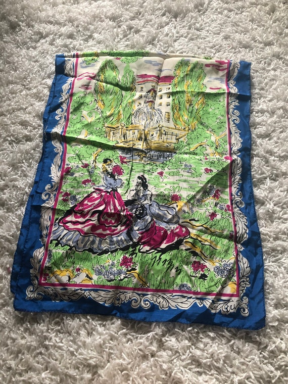 1940s Silk Scarf / 40s novelty Figural print scarf - image 4