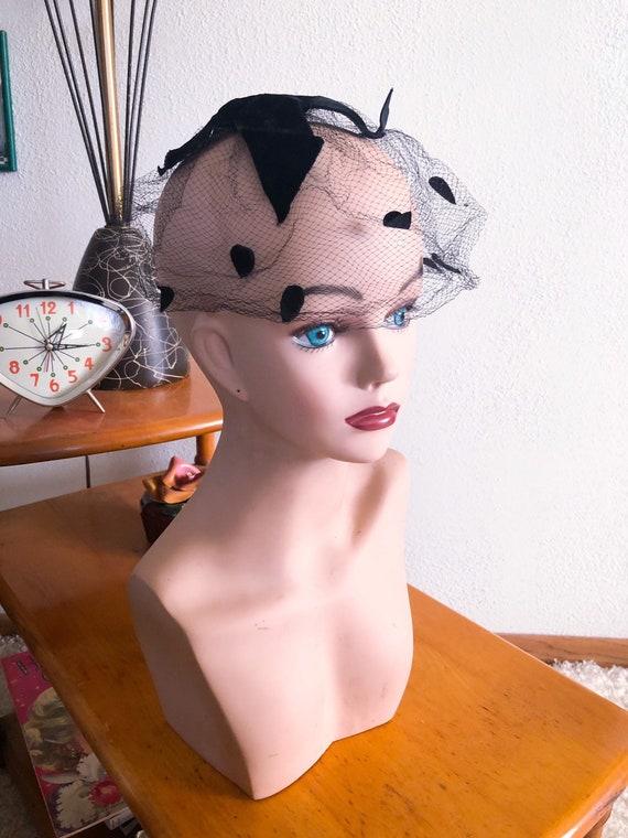 1950s Net Hat / 50s dot hat / 1950s fascinator - image 1