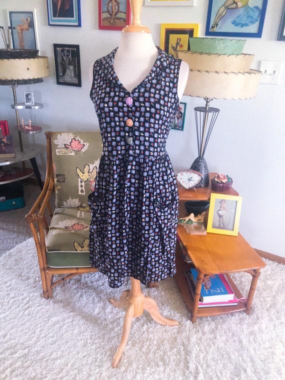 1940s style Dress  / 40s style Novelty Print Dress