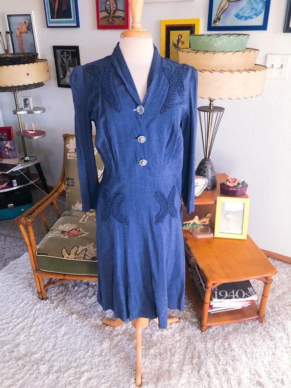 1940s Dress / 40s blue wool gabardine dress