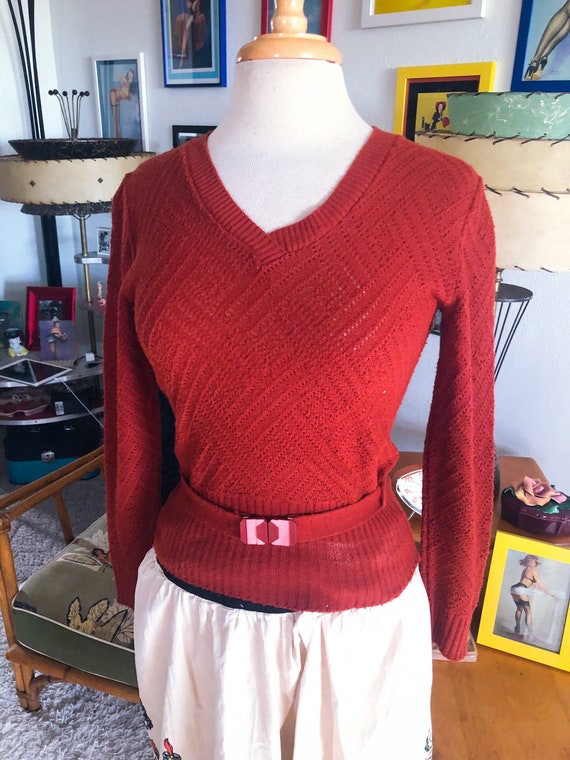 1940s style Sweater / 40s style V-neck Sweater / 7