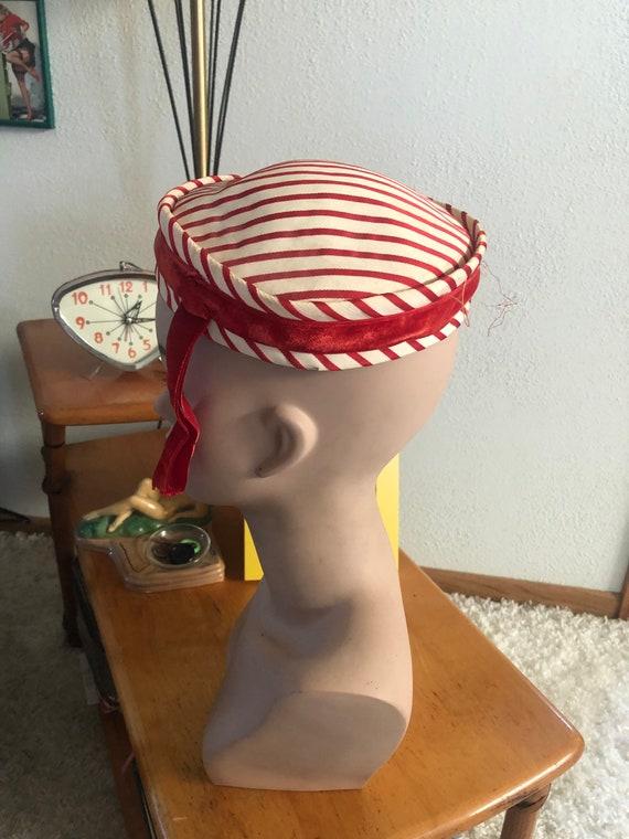 1950s Hat Lot / 50s striped pillbox / 50s black p… - image 4