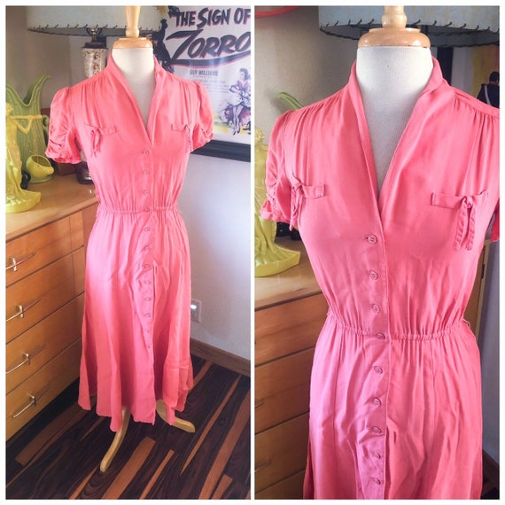 1930s style Pink Dress / 30s style Day Dress with