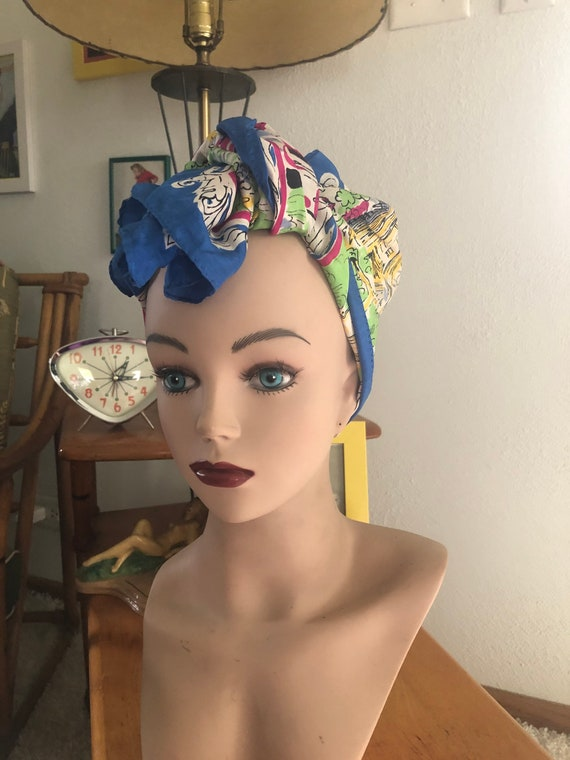 1940s Silk Scarf / 40s novelty Figural print scarf - image 2