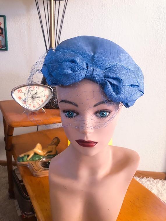 1950s Hat / 50s periwinkle blue bow hat - image 1