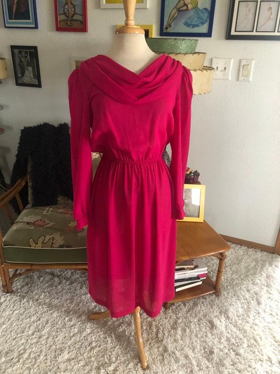 1940s style Dress  / 40s style fuschia pink dress… - image 2