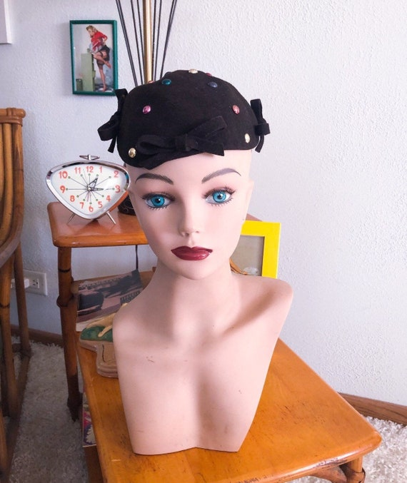 1940s Pearl Stud Hat / 40s Studded Beret