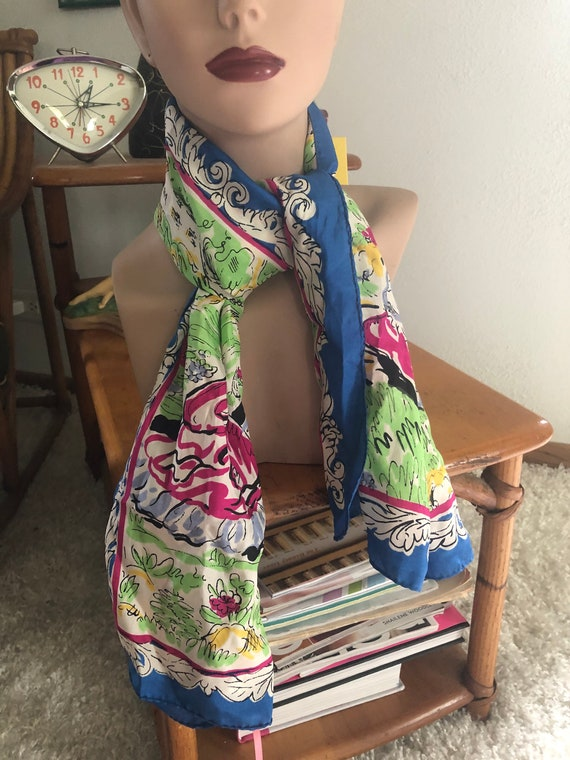 1940s Silk Scarf / 40s novelty Figural print scarf - image 7