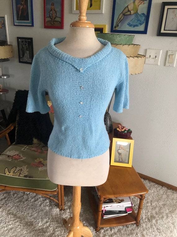 1950s Sweater / 50s Short Sleeve Sweater