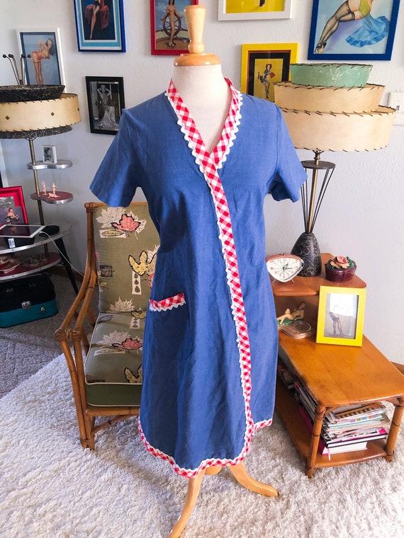 1950s Blue Day Dress / 50s dress gingham trim