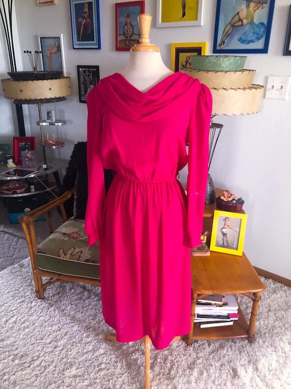 1940s style Dress  / 40s style fuschia pink dress… - image 1