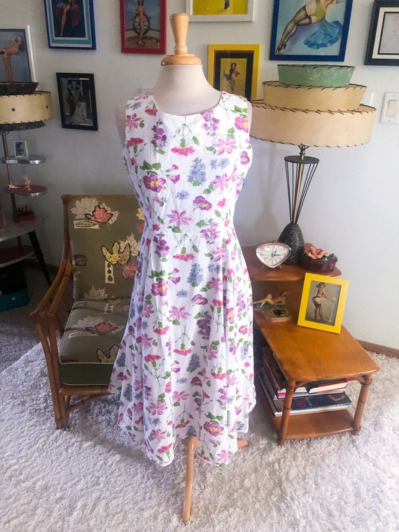 1940s style Dress  / 40s style floral dress / 80s… - image 1