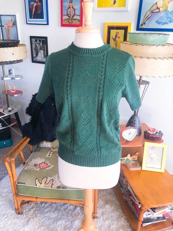 1950s Sweater / 50s Short Sleeve Sweater / 50s dar
