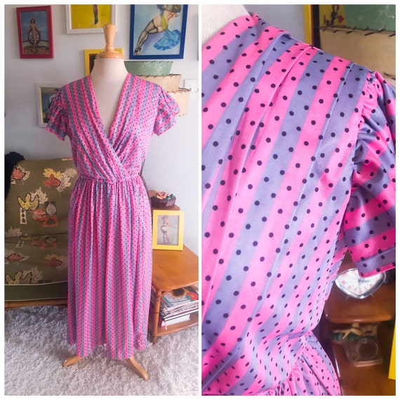 1940s style Dress  / 40s style stripe and polka do